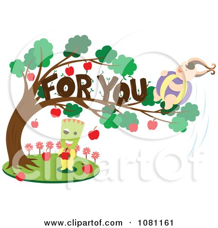 Clipart Rounded Person In A For You Apple Tree Over A Green Headed Person - Royalty Free Vector Illustration by Cherie Reve