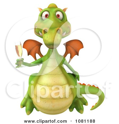 Clipart 3d Green Dragon Toasting With Champagne 2 - Royalty Free CGI Illustration by Julos