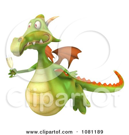 Clipart 3d Green Dragon Toasting With Champagne 3 - Royalty Free CGI Illustration by Julos
