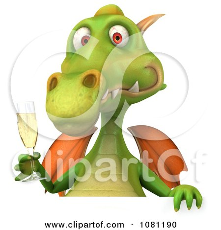 Clipart 3d Green Dragon Toasting With Champagne And A Blank Sign 1 - Royalty Free CGI Illustration by Julos