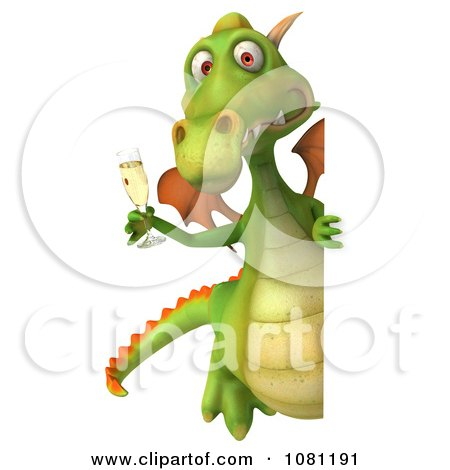 Clipart 3d Green Dragon Toasting With Champagne And A Blank Sign 2 - Royalty Free CGI Illustration by Julos