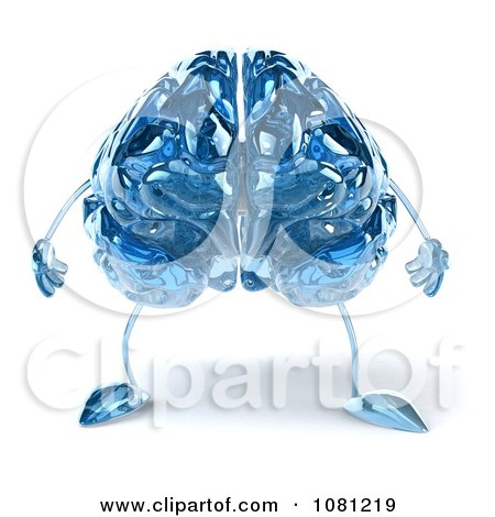 Clipart 3d Blue Glass Brain - Royalty Free CGI Illustration by Julos