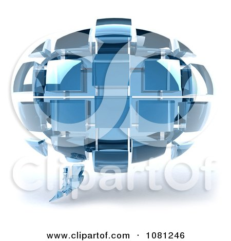 Clipart 3d Chat Balloon Made Of Blue Glass Cubes - Royalty Free CGI Illustration by Julos