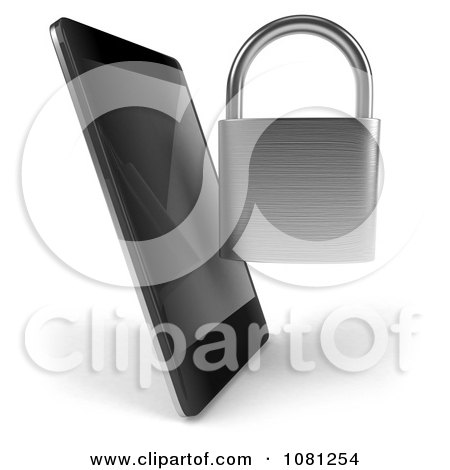 Clipart 3d Smart Phone With A Padlock - Royalty Free CGI Illustration by Julos
