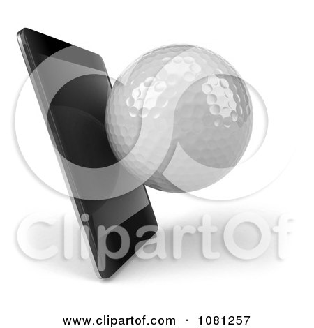 Clipart 3d Smart Phone With A Golf Ball - Royalty Free CGI Illustration by Julos