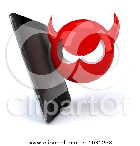 Clipart 3d Smart Phone With A Devil Virus - Royalty Free CGI Illustration by Julos