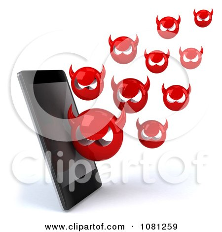 Clipart 3d Smart Phone With Devil Viruses - Royalty Free CGI Illustration by Julos