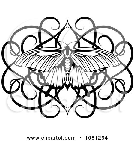 Clipart Black And White Swirl Butterfly Tattoo Design Element ...