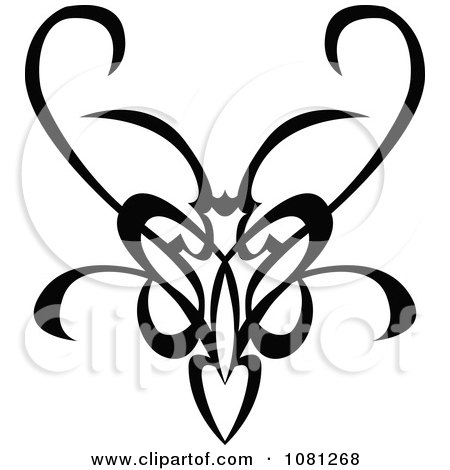 Black And White Tribal Swirl Butterfly Tattoo Design