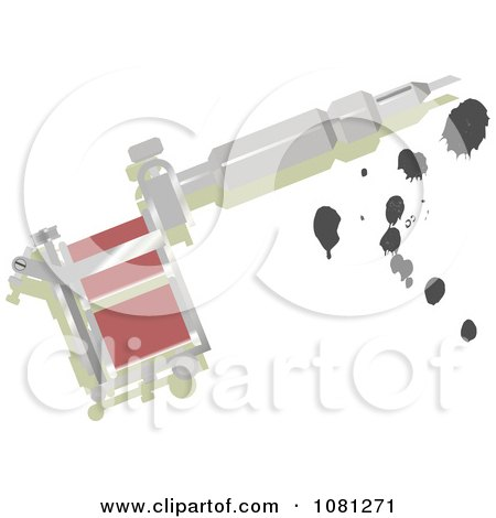 Clipart Silver Tattoo Gun With Ink - Royalty Free Vector Illustration by AtStockIllustration