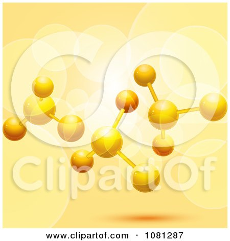 Clipart 3d Molecular Structure With Flares On Orange - Royalty Free Vector Illustration by elaineitalia