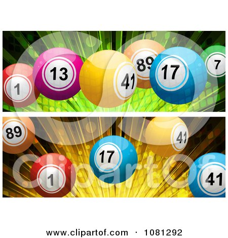 Clipart 3d Green And Orange Burst And Bingo Ball Website Banners - Royalty Free Vector Illustration by elaineitalia