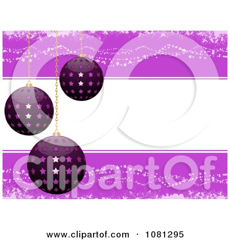 Clipart 3d Starry Christmas Baubles Over Copyspace - Royalty Free Vector Illustration by elaineitalia