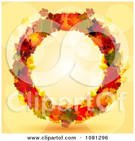 Clipart Colorful Autumn Leaf Thanksgiving Wreath Over Orange With Flares - Royalty Free Vector Illustration by elaineitalia