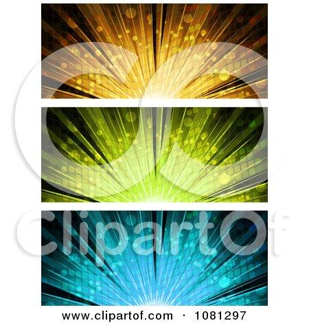 Clipart Orange Green And Blue Burst Website Banners - Royalty Free Vector Illustration by elaineitalia