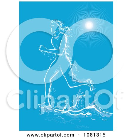 Clipart Female Marathon Runner Made Of Water Under Rays On Blue - Royalty Free Vector Illustration by patrimonio