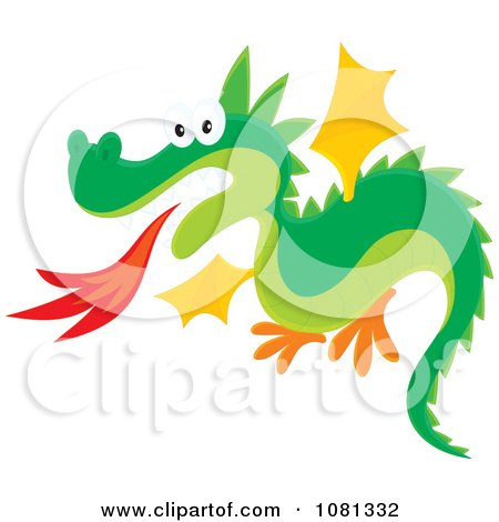 Clipart Fire Breathing Dragon Flying - Royalty Free Vector Illustration by Alex Bannykh