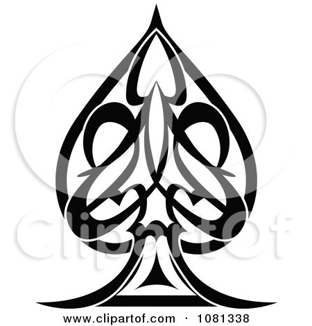 Clipart Black And White Tribal Spade Tattoo Design Element - Royalty Free Vector Illustration by AtStockIllustration