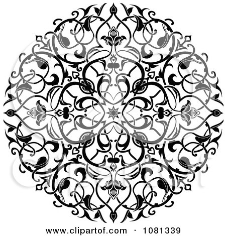 Clipart Black And White Ornate Floral Circle Tattoo Design Element - Royalty Free Vector Illustration by AtStockIllustration
