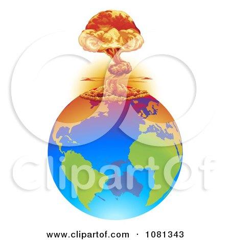 Clipart Mushroom Cloud Explosion On Earth - Royalty Free Vector Illustration by AtStockIllustration