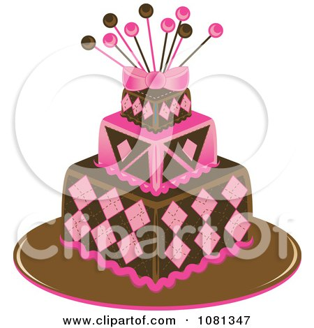 Clipart Three Tiered Pink And Brown Square Fondant Cake With Pins - Royalty Free Vector Illustration by Pams Clipart