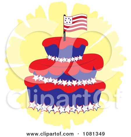 Clipart Three Tiered Americana Fondant Cake With A Flag - Royalty Free Vector Illustration by Pams Clipart