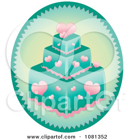 Clipart Oval With A Pink Heart And Turquoise Square Fondant Cake - Royalty Free Vector Illustration by Pams Clipart