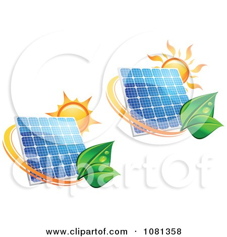 Clipart Suns Above Solar Panels With Green Leaf Circles 2 - Royalty Free Vector Illustration by Vector Tradition SM