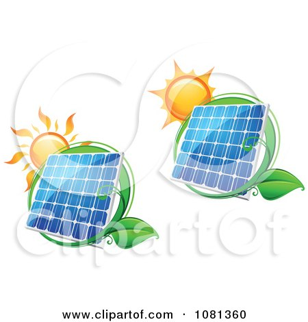 Clipart Suns Above Solar Panels With Green Leaf Circles 1 - Royalty Free Vector Illustration by Vector Tradition SM