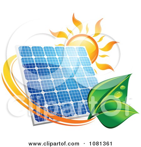Clipart Sun Above A Solar Panel With A Green Leaf Circle 4 - Royalty Free Vector Illustration by Vector Tradition SM