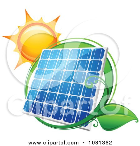 Clipart Sun Above A Solar Panel With A Green Leaf Circle 2 - Royalty Free Vector Illustration by Vector Tradition SM