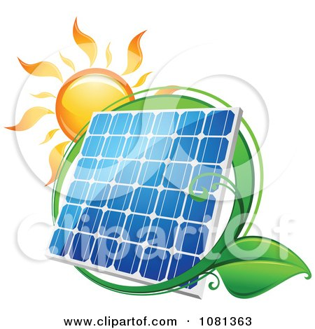 Clipart Sun Above A Solar Panel With A Green Leaf Circle 1 - Royalty Free Vector Illustration by Vector Tradition SM