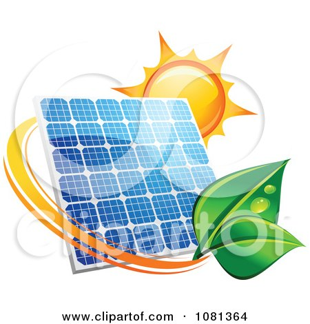 Clipart Sun Above A Solar Panel With A Green Leaf Circle 3 - Royalty Free Vector Illustration by Vector Tradition SM