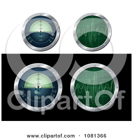 Clipart Submarine Navigation And Radar Screens - Royalty Free Vector Illustration by Vector Tradition SM