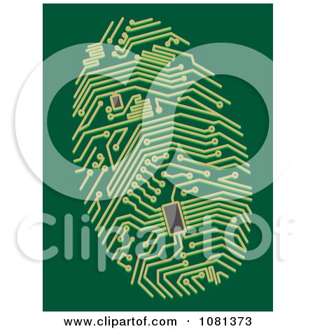 Clipart Green Circuit Thumb Print - Royalty Free Vector Illustration by Vector Tradition SM