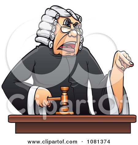 Clipart Mad Judge Banging A Gavel And Pointing - Royalty Free Vector Illustration by Vector Tradition SM
