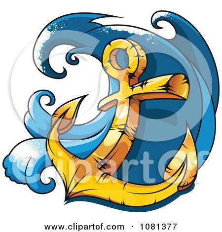 Clipart Gold Heavy Nautical Anchor And Wave - Royalty Free Vector Illustration by Vector Tradition SM