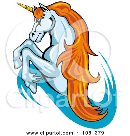 Clipart Leaping Unicorn With Orange Hair Logo - Royalty Free Vector Illustration by Vector Tradition SM