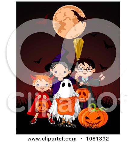 Clipart Group Of Halloween Trick Or Treaters Posing On A Red Background - Royalty Free Vector Illustration by Pushkin