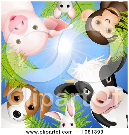 Clipart  Circle Of Cute Animals Looking Down Against A Blue Sky - Royalty Free Vector Illustration by Oligo