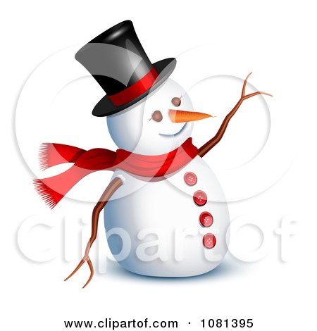 Clipart 3d Snowman Waving Hello - Royalty Free Vector Illustration by Oligo