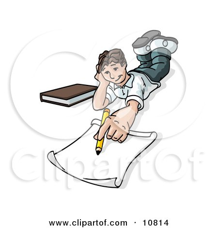 Elementary School Boy Lying on His Stomach and Doing Homework or Drawing Clipart Illustration by Leo Blanchette
