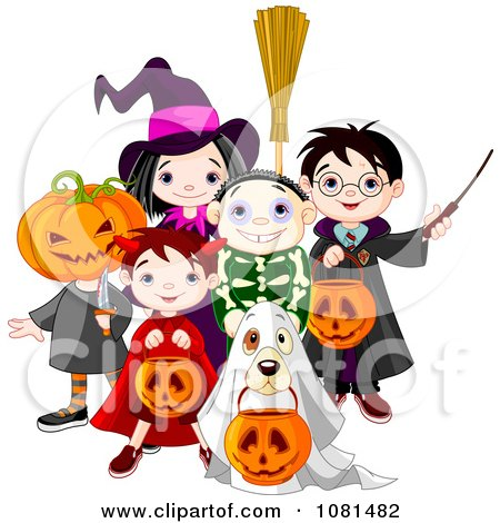 Clipart Group Of Halloween Trick Or Treating Kids And A Dog - Royalty Free Vector Illustration by Pushkin