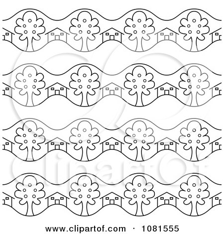 Clipart Seamless Black And White Real Estate Background Pattern Design - Royalty Free Vector Illustration by Frisko