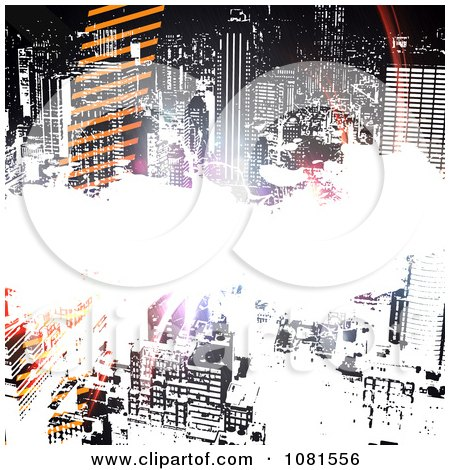 Clipart City Urban Grunge Background With Tracks And Bright Light - Royalty Free Illustration by Arena Creative