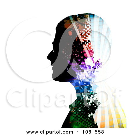 Clipart Colorful Patterned Mans Profile - Royalty Free Illustration by Arena Creative