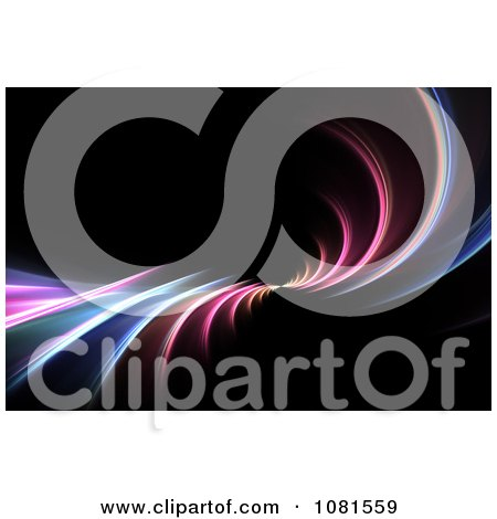 Clipart Colorful Neon Fractal Swoosh On Black - Royalty Free Illustration by Arena Creative
