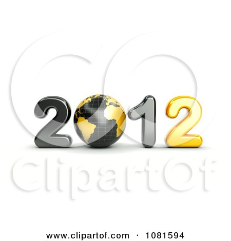 Clipart 3d Black And Gold 2012 With A Globe - Royalty Free CGI Illustration by chrisroll