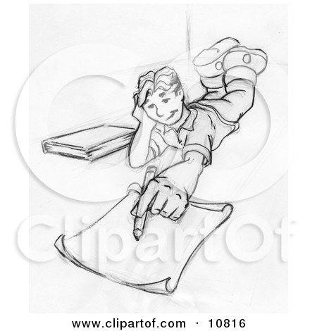 Elementary School Boy Lying on His Stomach and Doing Homework or Drawing Clipart Illustration Posters, Art Prints