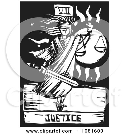 Clipart Black And White Woodcut Styled Justice Tarot Card - Royalty Free Vector Illustration by xunantunich